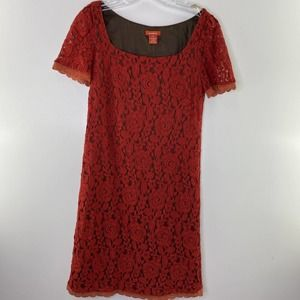 SUNDANCE Lace Overlay DRESS Size 6 Floral Silk Lined Rust Red Square Neckline